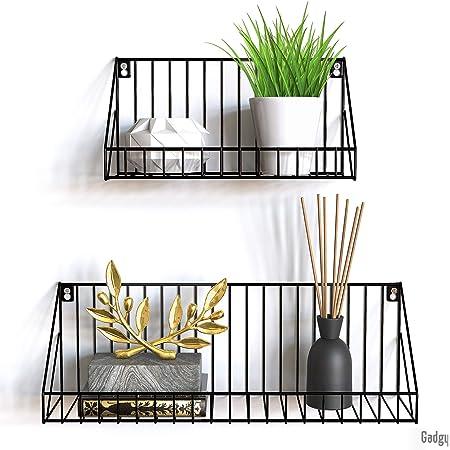 Gadgy estanteria de Pared metalica flotante| Juego de 2 estanterias metalicas | 45 x 12 x 15 & 30 x 12 x 15 cm. | Baldas Pared decorativas | Para ...