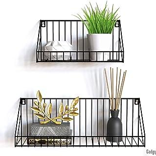 Gadgy estanteria de Pared metalica flotante  Juego de 2 estanterias metalicas   45 x 12 x 15 & 30 x 12 x 15 cm.   Baldas P...