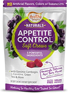Healthy Delights Naturals, Appetite Control Soft Chews, Garcinia Cambogia, L Carnitine, Green Tea, White Kidney Bean Blend...