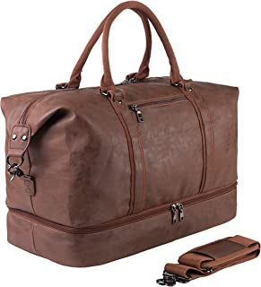 Leather Travel Bag with Shoe Pouch,Weekender Overnight Bag Waterproof Leather Large Carry On Bag Travel Tote Duffel Bag fo...