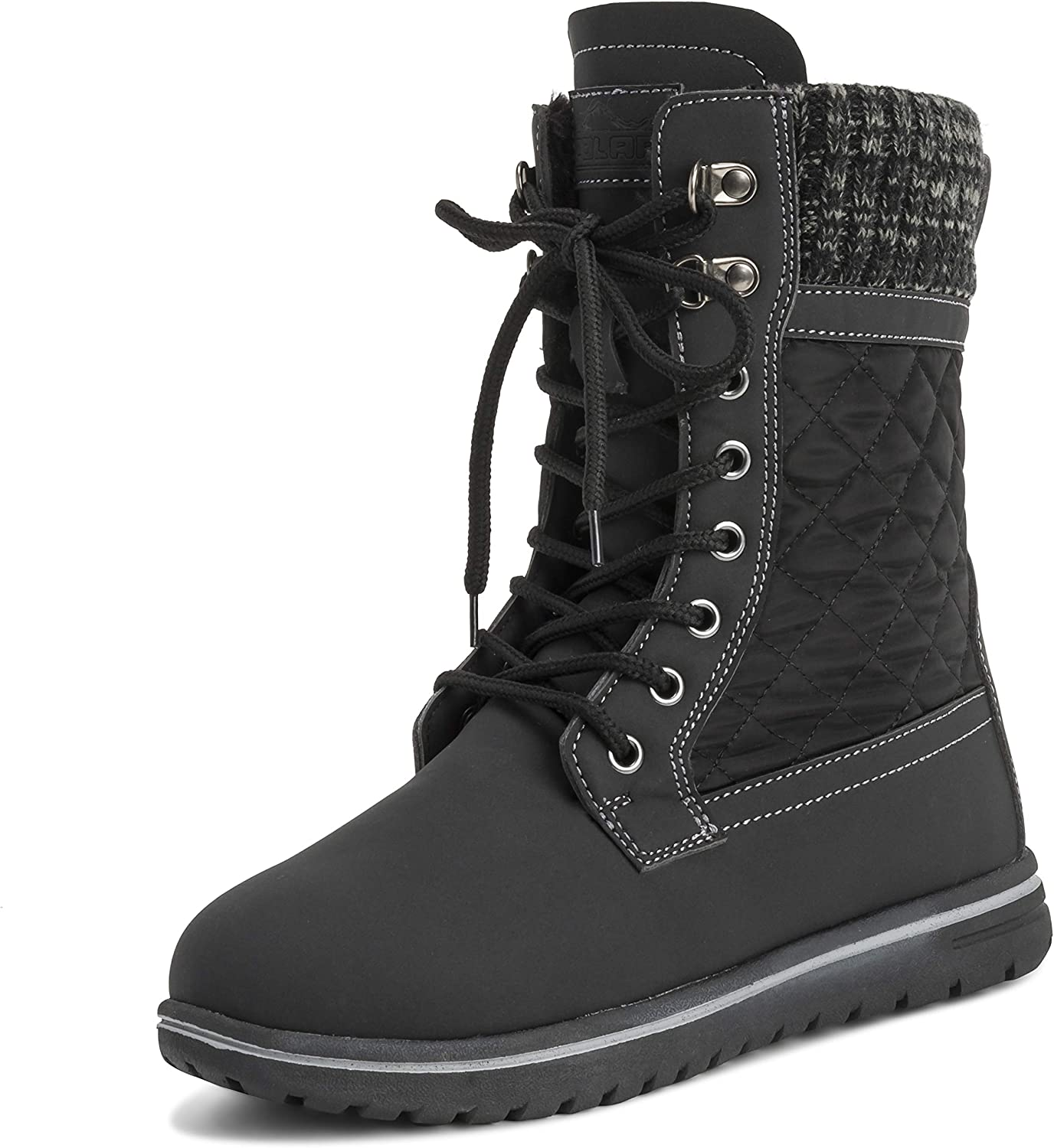 Polar Womens Quilted Short Faux Fur Snow Waterproof Winter Durable Warm Boots - 11 - BLK42 AYC0525
