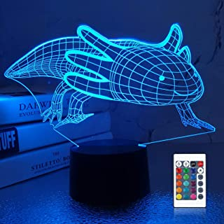 Lampeez 3D Axolotl Lamp Night Light Mexican Salamander Fish 3D Illusion lamp for Kids, 16 Colors Changing with Remote, Kid...
