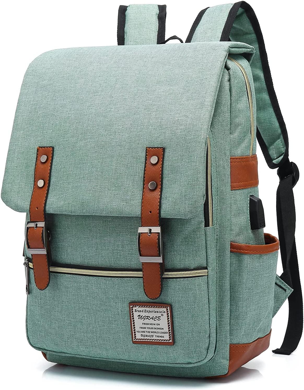 UGRACE Vintage Laptop Backpack with USB Charging Port, Elegant Water Resistant Travelling Backpack Casual Daypacks School Shoulder Bag for Men Women, Fits up to 15.6Inch Laptop in Green : Electronics