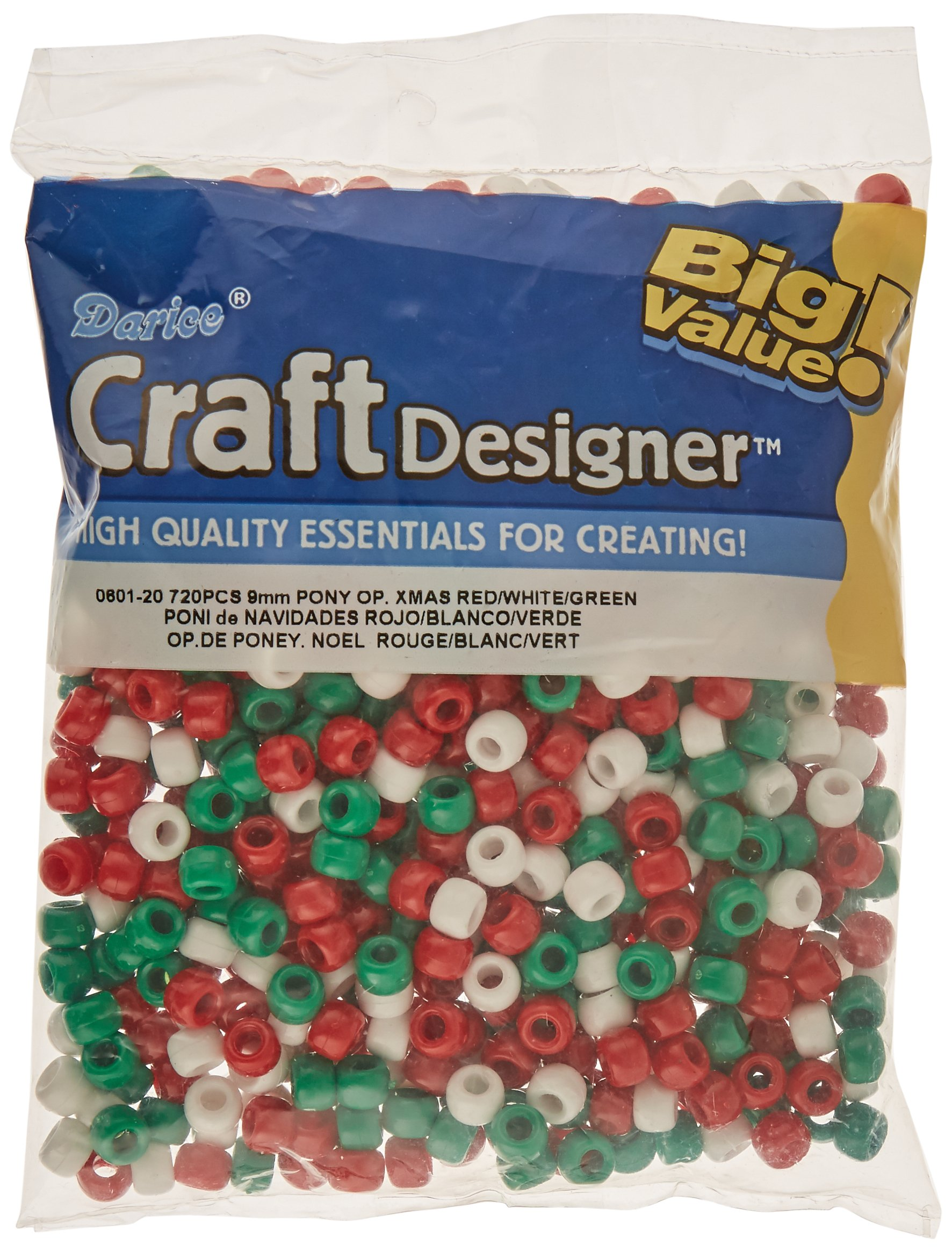 9mm Opaque 1,000 Count Each Darice 3 Pack Red Plastic Beads Black White