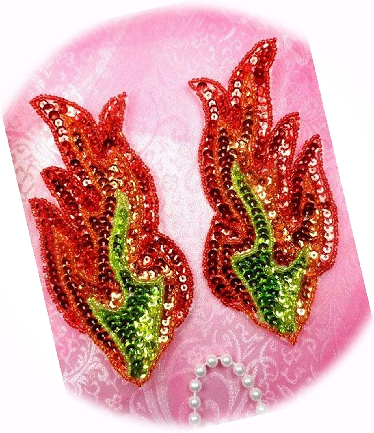 Appliques Max 83% OFF Flames Fire Red Orange Fees free!! Gold Beaded Mirror Pair Sequin