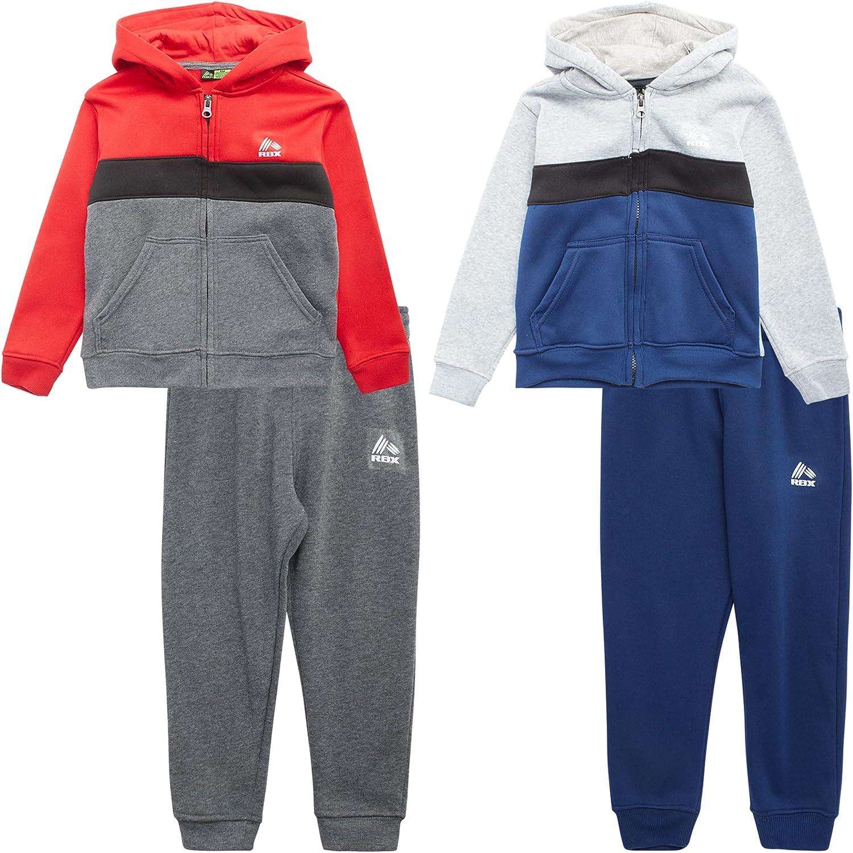 RBX Baby Boys' Jogger Set - 4-Piece Sweatshirt and Sweatpants Playwear Set (Infant/Toddler)