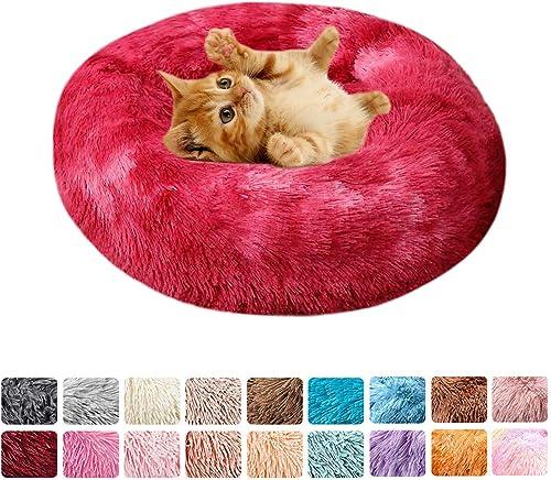 2021 labworkauto Donut Dog Cat Bed Ultra Soft Calming Nest Bed Waterproof Bottom Indoor Round Pillow, 2021 Claret, 2021 15.8 Inch online sale