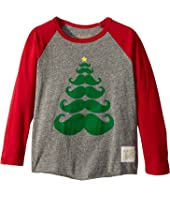 The Original Retro Brand Kids - Baseball Raglan Holiday Mustache Long Sleeve (Toddler)