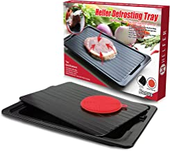 HelferX Defrosting Tray | Thawing Plate for fast defrosting of frozen foods | Premium Quality Defrost Tray | With bonus Drip tray and silicone sponge | Extra Thick (3mm) Non-stick