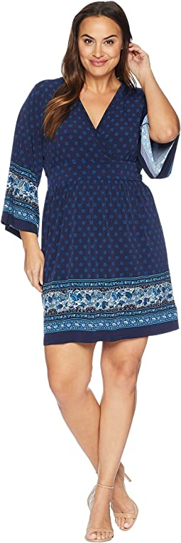 Plus Size Printed Deep Vee Dress