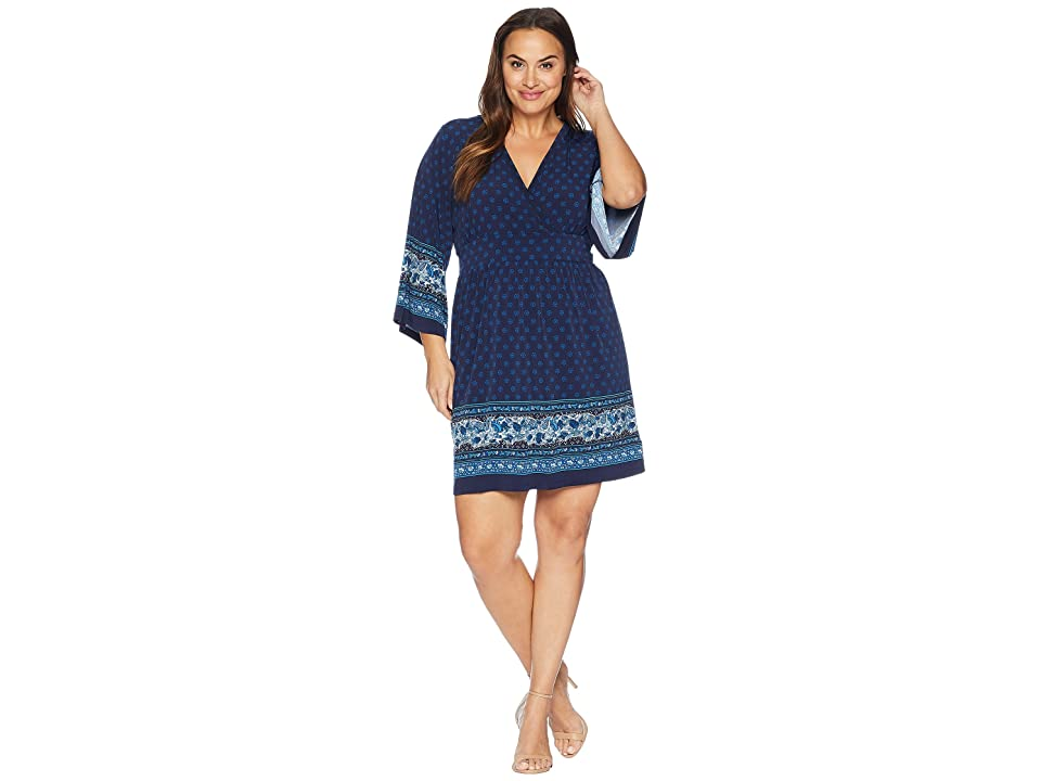 MICHAEL Michael Kors Plus Size Printed Deep Vee Dress (True Navy/Radiant Blue) Women