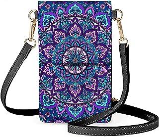 Chaqlin - Mini borsa a tracolla in pelle PU, con schermo touch, per donna, da viaggio, piccola borsa a tracolla, Mandala l...