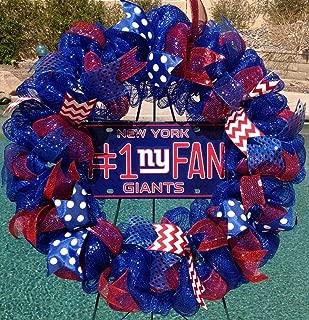 New York Giants Deco Mesh Wreath Blue Red Indoor Outdoor Wall Door Room Handmade New