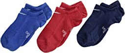 Performance Lightweight No Show Training Socks 3-Pair Pack (Little Kid/Big Kid)