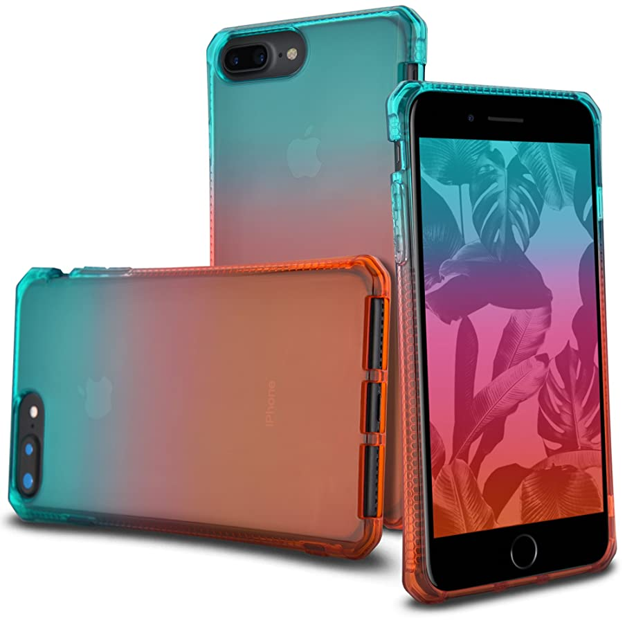 Celljoy Case compatible with iPhone 8 Plus, iPhone 7 Plus, iPhone 6 Plus [[Sunset Gradient TPU]] - Impact Bumper - Transparent - Colorful - Extreme Drop Protection (Teal/Pink/Orange)