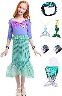 3b5c8329 Girls Sequins Little Mermaid Dress Costume with Shiny Headband Tail Purse
