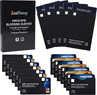 LotFancy 19 RFID Blocking Sleeves (14 Credit Card Protectors & 5 Passport Holders) for Identity Theft Protection, Numbered...