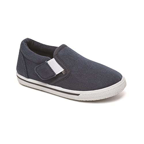 Boys Girls Black Canvas Plimsolls Slip On Infant 6 large size 5
