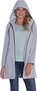 GUANYY Women's Waterproof Raincoat Outdoor Hooded Windbreaker Jacket Casual Long Lightweight Jackets Coat