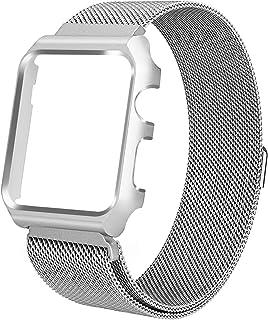 ALNBO コンパチブル apple watch バンド コンパチブルアップルウォッチ バンド ミラネーゼループ マグネットクラスプ ステンレス留め金製 交換バンドfor apple watch series3/2/1(42mm,シルバー)