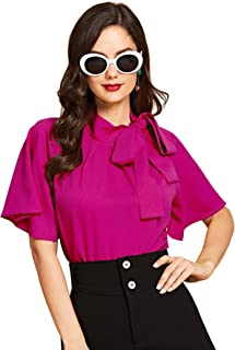 98bd8e48 SheIn Women's Casual Side Bow Tie Neck Short Sleeve Blouse Shirt Top