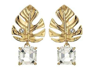 Swarovski Tropical Leaf Pierced Earrings (White) Earring