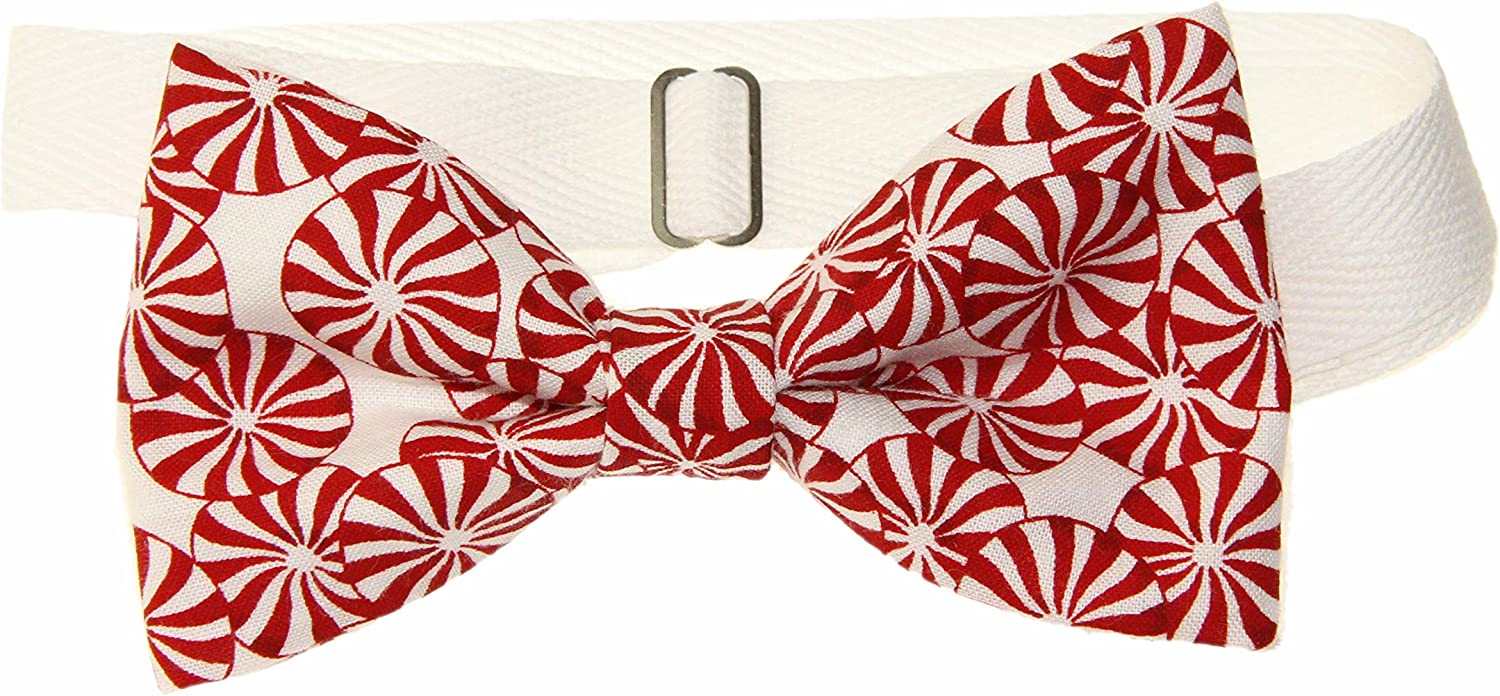 Men's Red White Peppermint Candies Pre-Tied Tie On Cotton Bow Ad Bargain Directly managed store sale