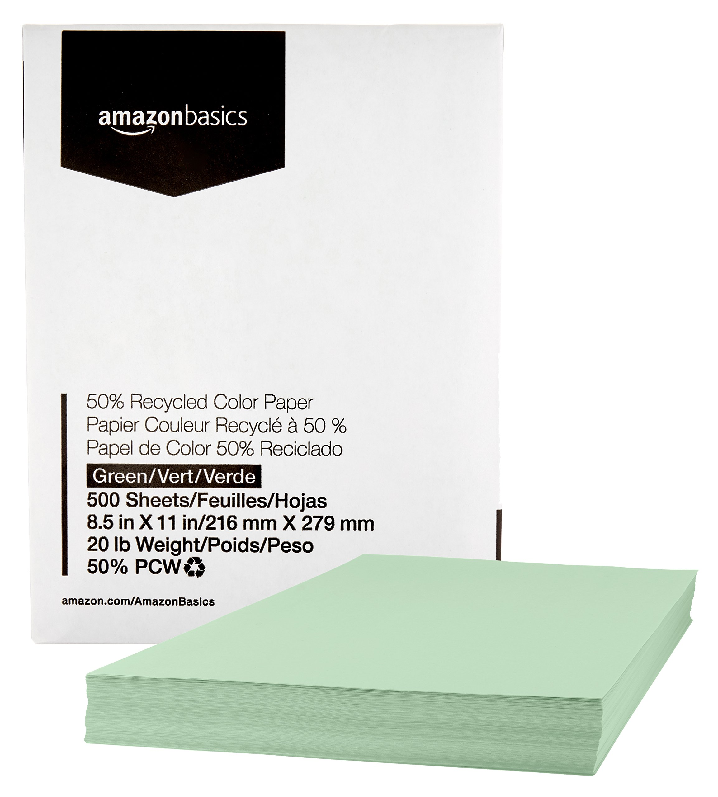 Amazon Basics 50% Recycled Color Printer Paper - Green, 8.5 x 11 Inches, 1 Ream (500 Sheets)