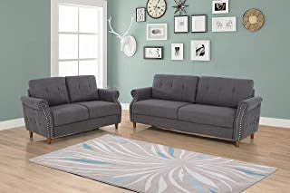 US Pride Furniture S5464 2PC Living Room Set, Sofa And Loveseat, Grey