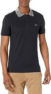 Men's Short Sleeve Striped Color Slim Fit Pique Polo Shirt