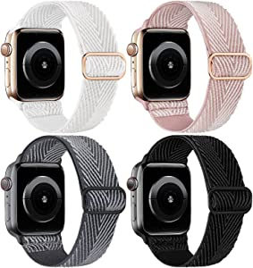 Recoppa Compatible with Apple Watch Band 38mm 40mm for Women Men, 4 Pack Adjustable Nylon Solo Loop Bands Stretchy Braided Elastic Sport Straps for iWatch Series 6 5 4 3 2 1 SE