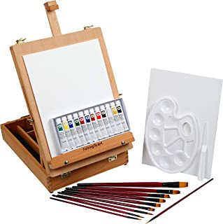Falling in Art 27 Piece Acrylic Painting Set of 12 Colors with Portable Table Easel Box, Canvas Panels, Brushes, Palette and More