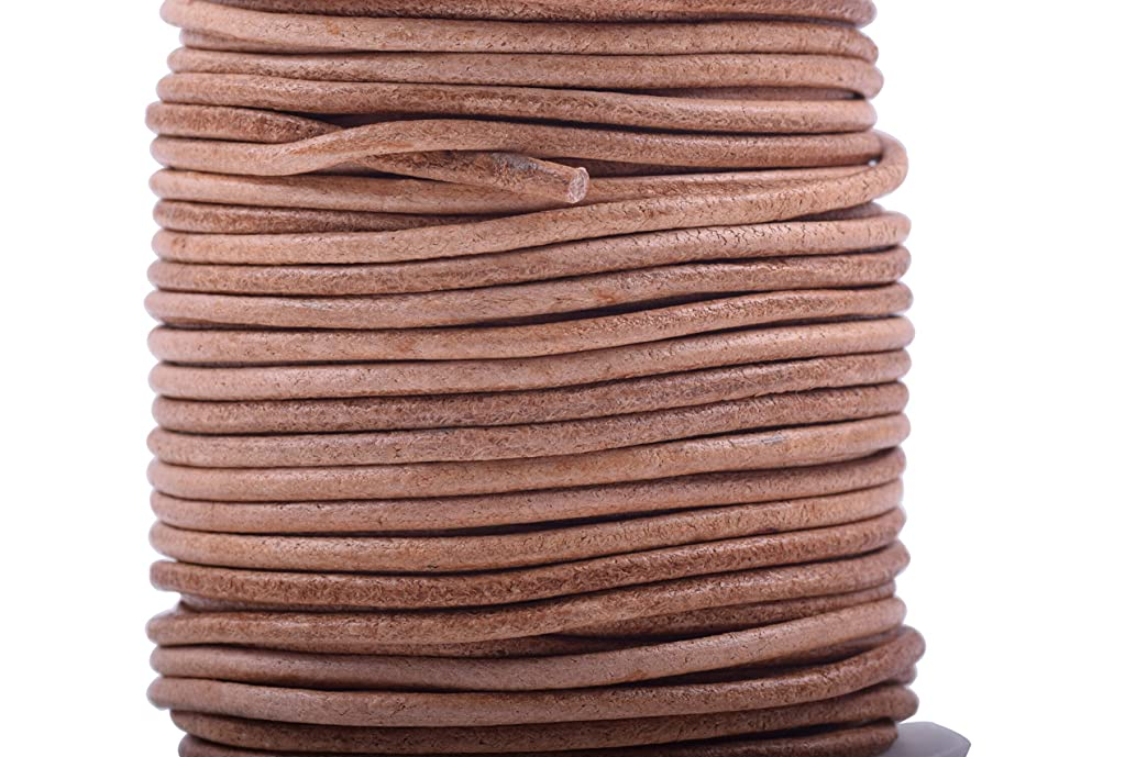 KONMAY 1 Roll 25 Yards 2.0mm Natural Color Soft Round Real Jewelry Leather Cord