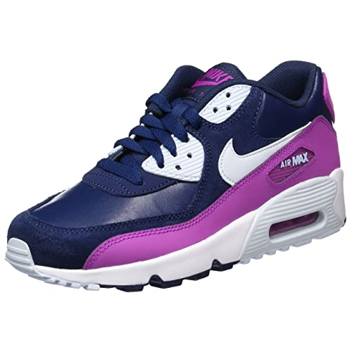 info for 78b74 9c838 NIKE Youth Air Max 90 LTR Running Shoes-White Blue