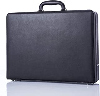 Leather Mens Briefcase Hardsided Attaché Hard Shell Vintage Outlook Organized Interior- Black