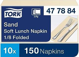 Tork 477884 Serviettes Lunch Advanced texture douce couleur sable / 3 plis - 33cm x 32,6cm - 10 x 150 serviettes pliage 1/8