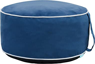 QILLOWAY Indoor/Outdoor Inflatable Stool,Round Ottoman,All Weather Foot Rest for Kids or Adults, Camping or Home (Navy Blue)