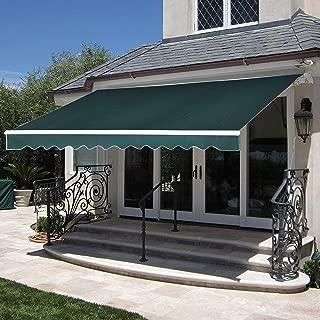 MCombo 13x8 Feet Manual Retractable Patio Door Window Awning Sunshade Shelter Outdoor Canopy (Green)