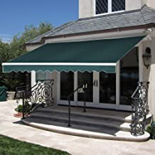 MCombo 13x8 / 10x8 /12x10 Feet Manual Retractable Patio Door Window Awning Sunshade Shelter Outdoor Canopy (13x8 FT, Green)