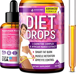Weight Loss Drops for Women & Men - Metabolism Booster Diet Drops - Made in USA - Appetite Suppressant & Fat Burner with L-Carnitine & African Mango - Metabolism Drops for Fat Loss