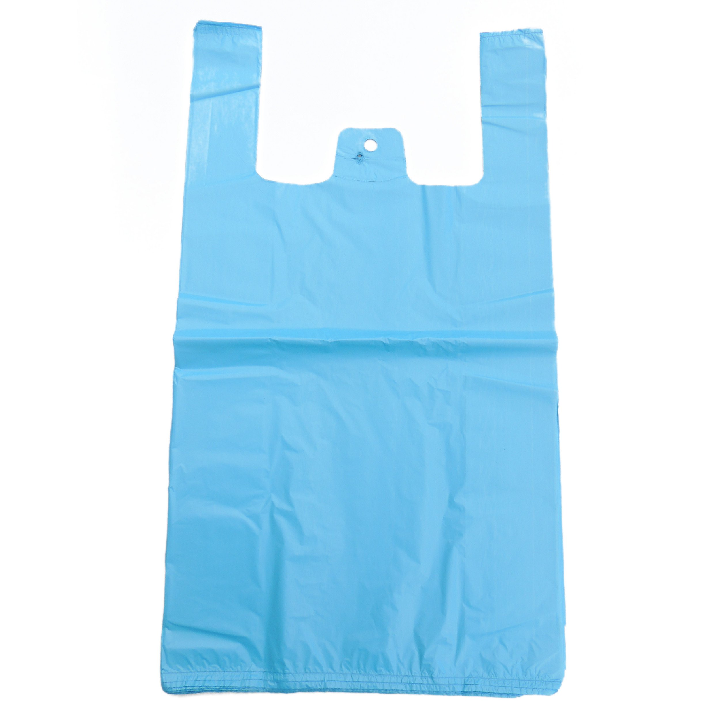 NEW PLASTIC VEST CARRIER BAGS BLUE OR WHITE 11X17X21 100 bags