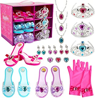 Girl Princess Dress Up Shoes Set Princess Role Play Collection Kit Pretend Jewelry Toys Accessories Set with Tiaras Crown ...