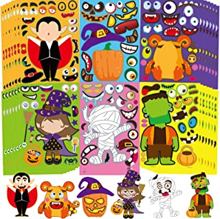 42pcs Halloween Characters Stickers for Kids, Make Your Own Mix and Match Sticker, Halloween Decorating Toy Stickers Hallo...