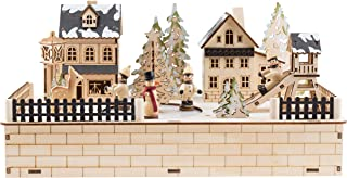 Clever Creations Traditional Winter Ice Skating Village Christmas Decoration | Battery Operated Ice Skating Rink and LED Christmas Lights | Animated 2