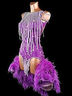 FB INTERNATIONAL Abito viola in pizzo per danze latino americane da donna taglia S/M