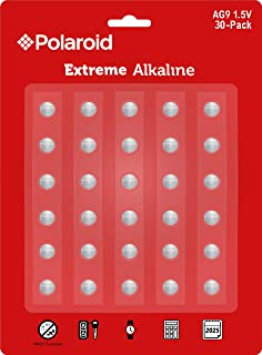 Polaroid Extreme AG9 LR45 LR936 394 380 194 1.5V Button Cell Alkaline Batteries Mercury Free 0% Hg (30-Pack) - 2025 Expiry Date