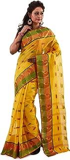 SareesofBengal Women's Jamdani Yellow Handloom Tangail Bengal Cotton Tant Saree