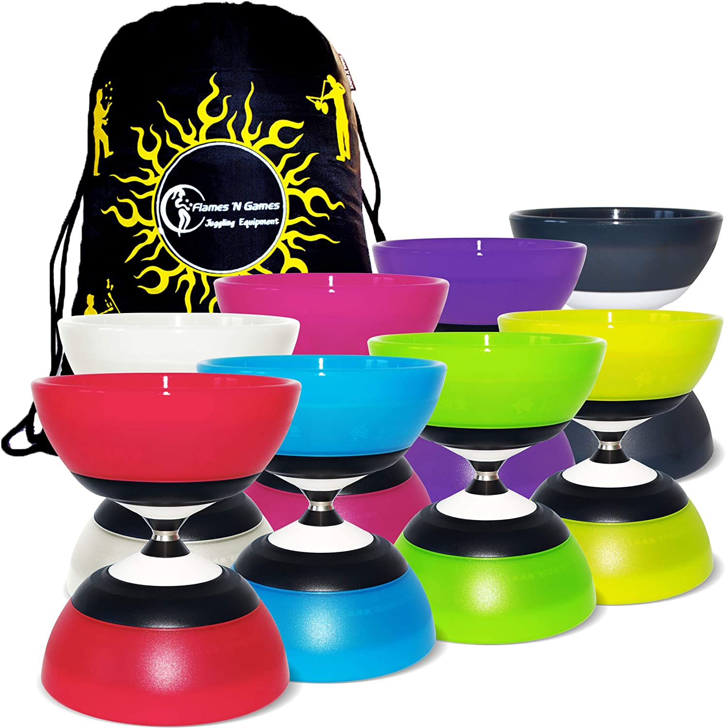 Sundia Evo '5' Bearing Axle Diabolo + Travel Bag  High Performance Spinning Diabolo for Professionals  No Sticks included (Green)