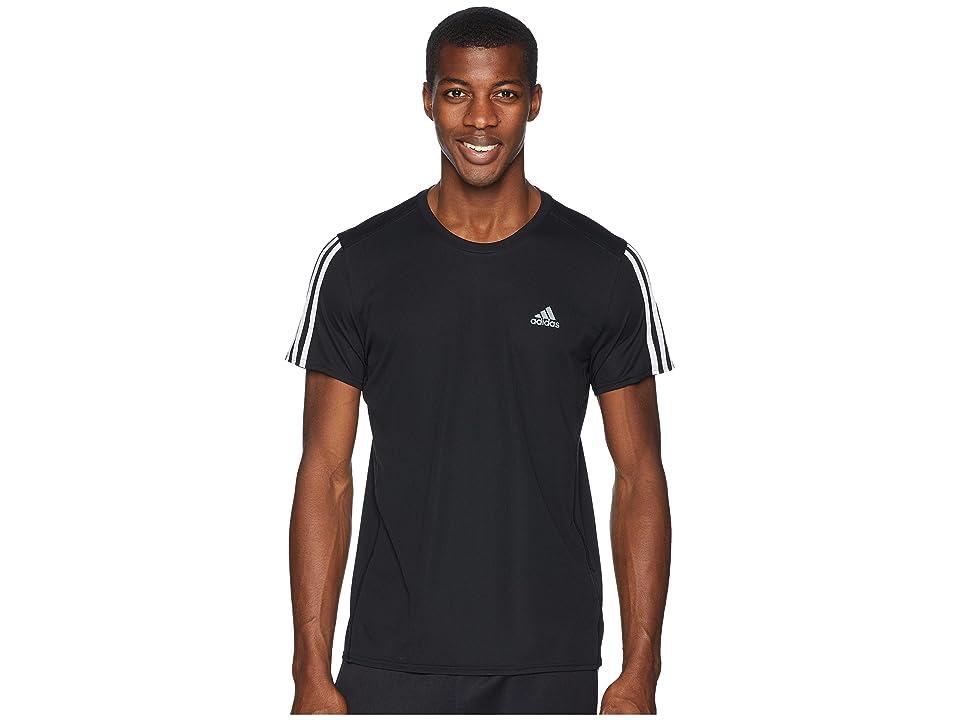 adidas 3-Stripes Run Tee (Black/White) Men