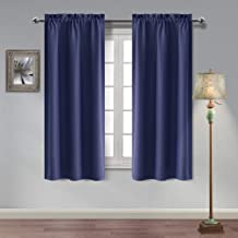 Homedocr Navy Blue Blackout Curtains Rod Pocket Thermal Insulated and Noise Reducing Room Darkening Window Curtains for Bedroom and Kids Room, 42 x 72 Inches, 2 Drape Panels
